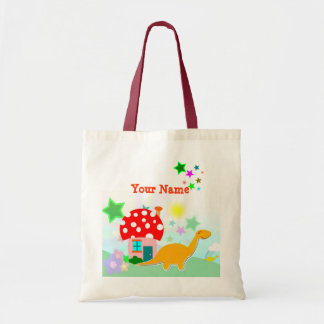 Cartoon Dinosaur & Mushroom House Stars Bag/ Tote