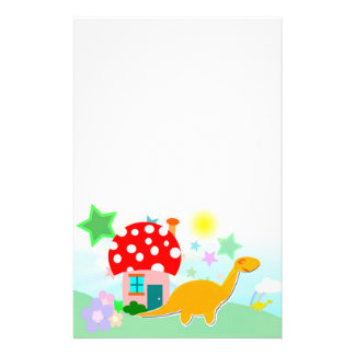 Cartoon Dinosaur & Mushroom House Stationery