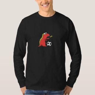 Cartoon Dinosaur Soccer Mens Dark Long Sleeve T-Shirt