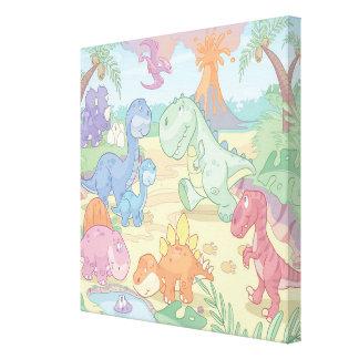 Cartoon Dinosaur Wrapped Canvas