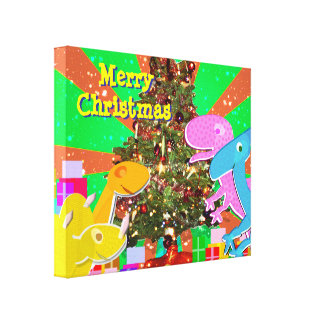 Cartoon Dinosaurs by the Christmas Tree Canvas
