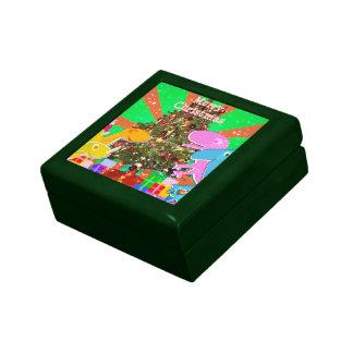 Cartoon Dinosaurs by the Christmas Tree Gift Box