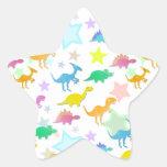 Cartoon Dinosaurs Color Star Sticker