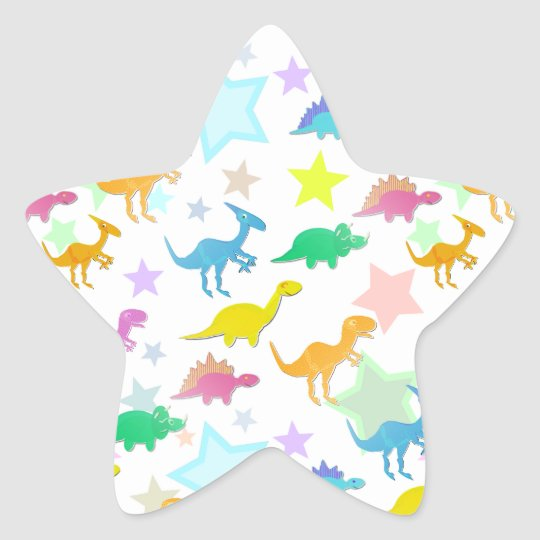 Cartoon Dinosaurs Color Star Sticker