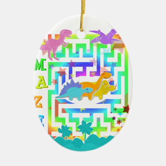 Cartoon Dinosaurs in a color Maze Ornament