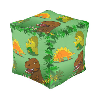 Cartoon Dinosaurs in the Jungle Kids Stuffed Chair Cube Pouf