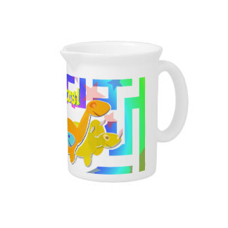 Cartoon Dinosaurs Lemonade Pitcher