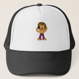 Cartoon Disco Lion With Afro Trucker Hat
