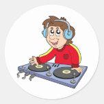 Cartoon DJ boy Round Stickers