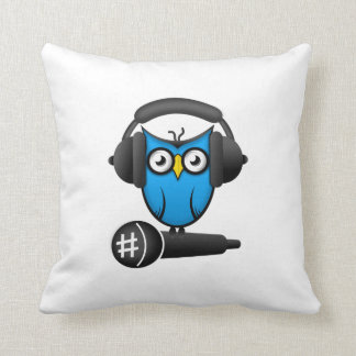 Cartoon DJ OWL Throw Pillow