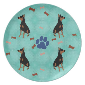Cartoon Doberman Dinner Plate