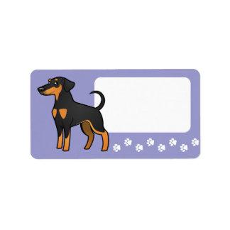 Cartoon Doberman Pinscher (floppy ears) Address Label