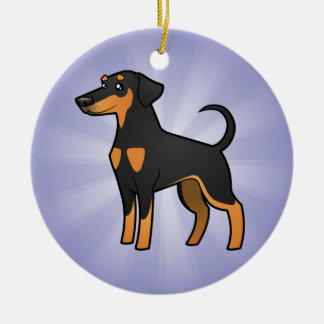 Cartoon Doberman Pinscher (floppy ears) Ceramic Ornament