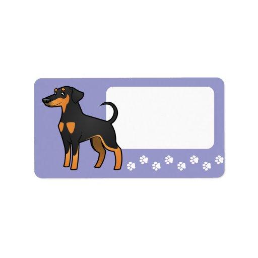 Cartoon Doberman Pinscher (floppy ears) Personalized Address Label