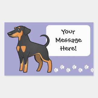 Cartoon Doberman Pinscher (floppy ears) Rectangular Sticker