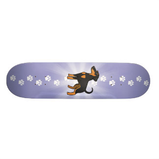 Cartoon Doberman Pinscher (floppy ears) Skateboard