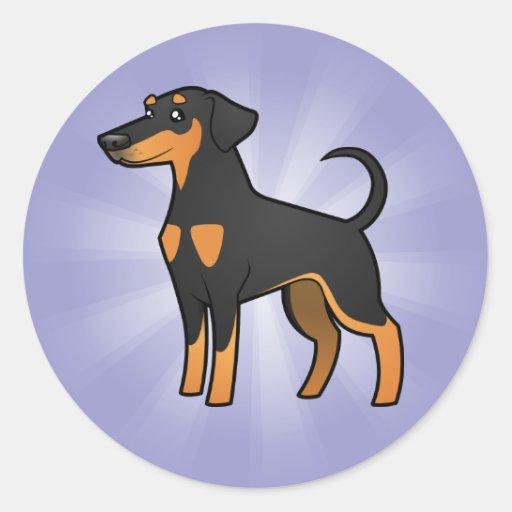 Cartoon Doberman Pinscher (floppy ears) Classic Round Sticker