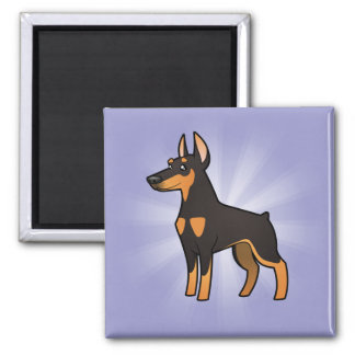 Cartoon Doberman Pinscher (pointy ears) 2 Inch Square Magnet