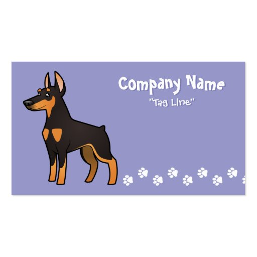 Cartoon Doberman Pinscher (pointy ears) Double-Sided Standard Business Cards (Pack Of 100)