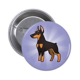 Cartoon Doberman Pinscher (pointy ears) Button