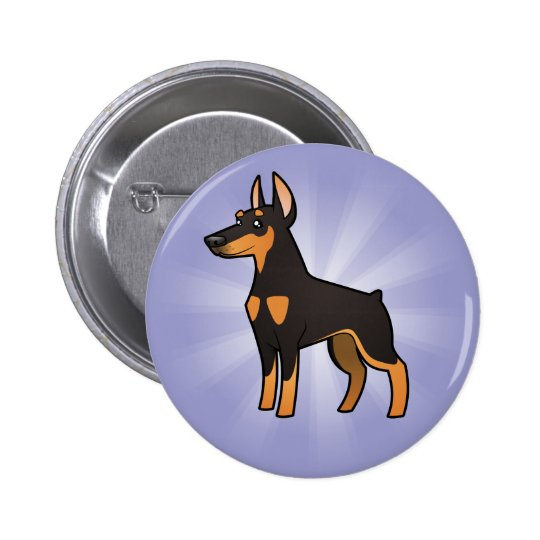 Cartoon Doberman Pinscher (pointy ears) Button