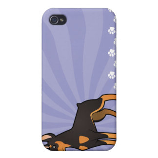 Cartoon Doberman Pinscher (pointy ears) Cover For iPhone 4
