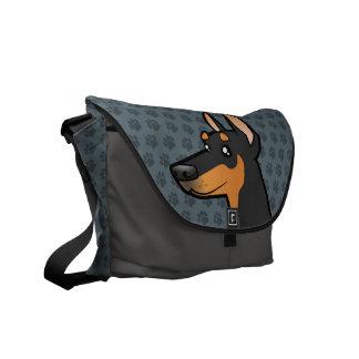 Cartoon Doberman Pinscher (pointy ears) Messenger Bag