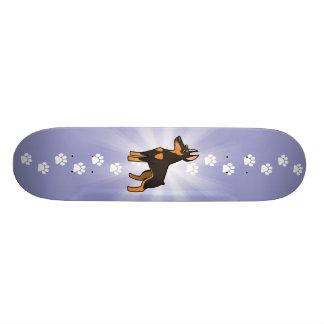Cartoon Doberman Pinscher (pointy ears) Skateboard Deck