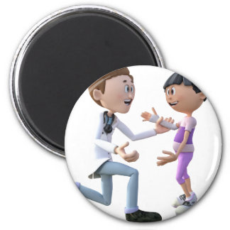 Cartoon Doctor and Patient 2 Inch Round Magnet