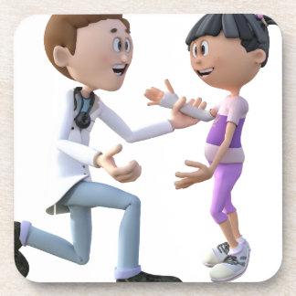 Cartoon Doctor and Patient Beverage Coaster