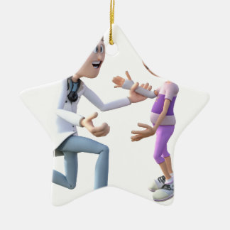 Cartoon Doctor and Patient Ceramic Ornament