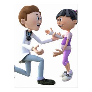 Cartoon Doctor and Patient Postcard