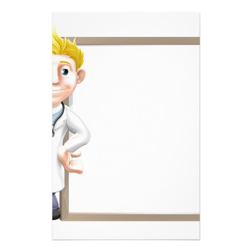 Cartoon doctor and sign personalized stationery