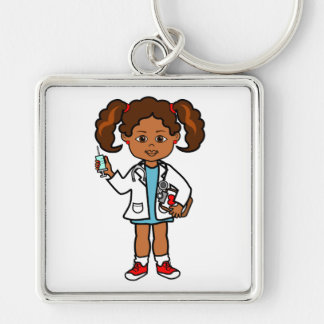 Cartoon Doctor Girl with Big Needle and Clipboard Keychain