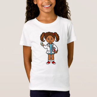 Cartoon Doctor Girl with Big Needle and Clipboard T-Shirt