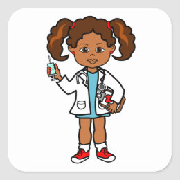Cartoon Doctor Girl with Big Needle Square Sticker