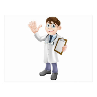 Cartoon Doctor Holding Clipboard Post Cards