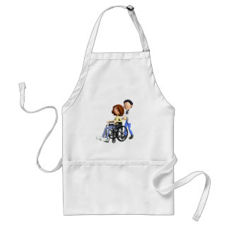 Cartoon Doctor Wheeling Patient In Wheelchair Adult Apron