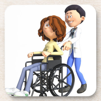 Cartoon Doctor Wheeling Patient In Wheelchair Drink Coaster