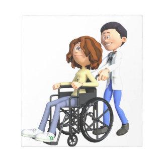 Cartoon Doctor Wheeling Patient In Wheelchair Notepad