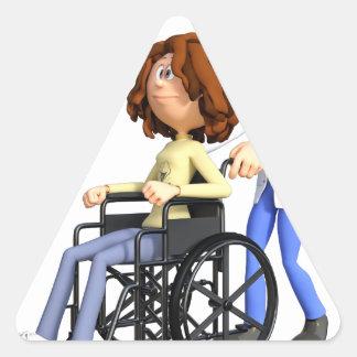 Cartoon Doctor Wheeling Patient In Wheelchair Triangle Sticker