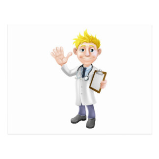 Cartoon doctor with clipboard post card