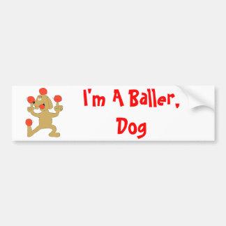 Cartoon Dog Balancing Balls Car Bumper Sticker