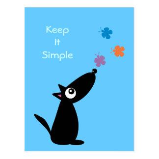 Cartoon dog & butterflies Keep It Simple postcard