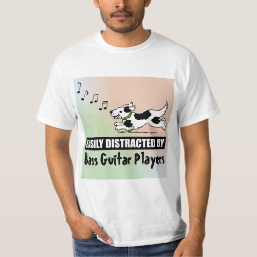 Cartoon Dog Distracted by Bass Guitar Players Music Notes Value T-Shirt