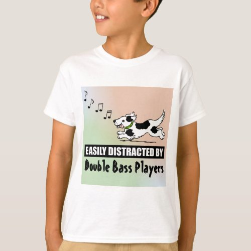 Cartoon Dog Distracted by Double Bass Players Music Notes Basic T-Shirt