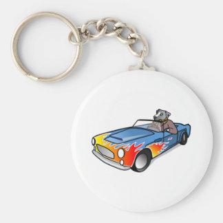 Cartoon Dog Driving a Car Basic Round Button Keychain