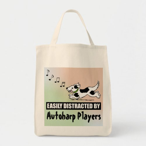 Cartoon Dog Easily Distracted by Autoharp Players Grocery Tote Bag