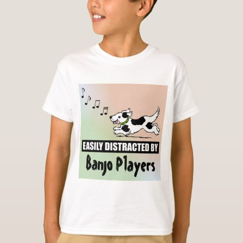 Cartoon Dog Easily Distracted by Banjo Players Music Notes Basic T-Shirt