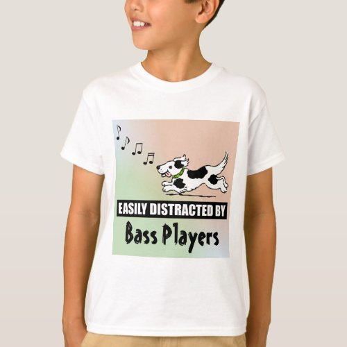 Cartoon Dog Easily Distracted by Bass Players Music Notes Basic T-Shirt